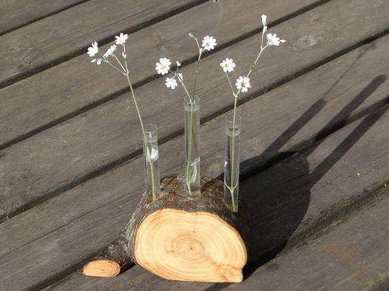 FREE SHIPPING. Wooden vase with glass test tubes by Woodur on Etsy