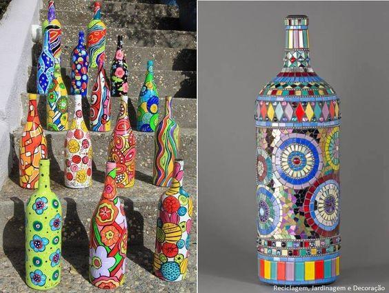 Reutilizando garrafas com pintura e mosaico.