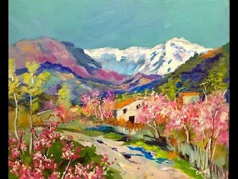 Painting An Italian Spring Landscape With Ginger Cook Acrylic Painting Tutorial You Tube Link Painting Spring Landscape Spring Painting