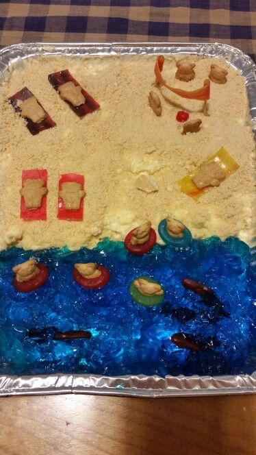 Sand cake with blue jello sand dessert cook time for Swedish fish ingredients