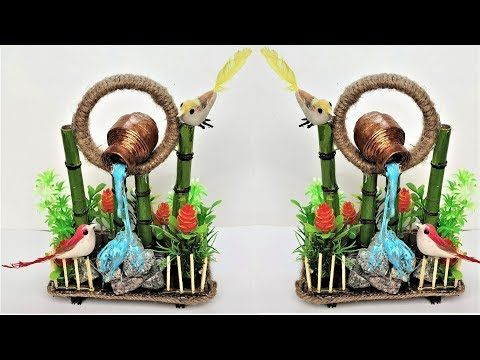 Diy Showpiece From Waste Material Easy Waterfall Home Decor