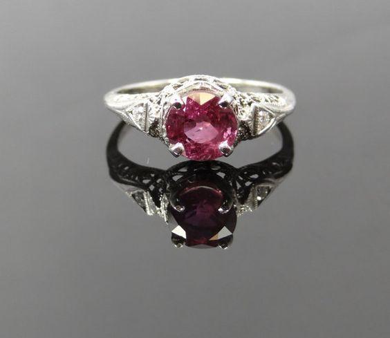 Beautiful Art Deco White Gold Filigree Pink Ceylon Sapphire Ring - RGSA155P on Etsy, $2,165.00