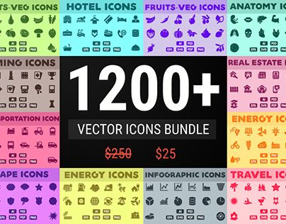 """Check out new work on my @Behance portfolio: """"Vector Icons Bundle 