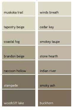 Benjamin Moore Favorite Taupes - raccoon hollow, indian river, brandon beige, stampede