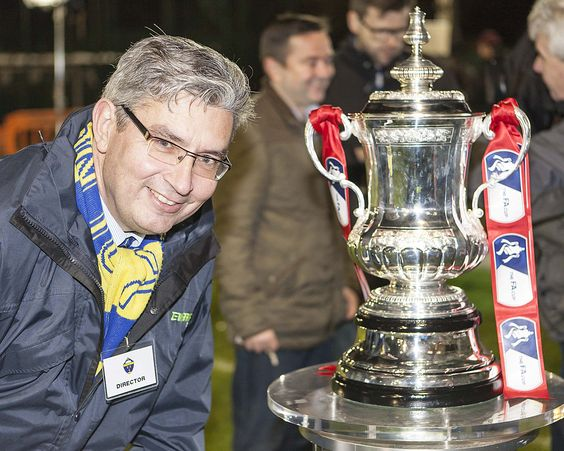 DREAMS DO COME TRUE:Director Gary Skentelbery with the FA Cup