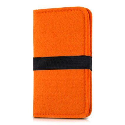 kwmobile Wallet Case Filz Hülle für Smartphones mit Gummiband - Cover Flip Filztasche mit Kartenfach in Orange - z.B. geeignet für Samsung, Apple, Wiko, Huawei, LG, Sony, HTC, OnePlus, ZTE, Microsoft, Nokia, Blackberry, Motorola