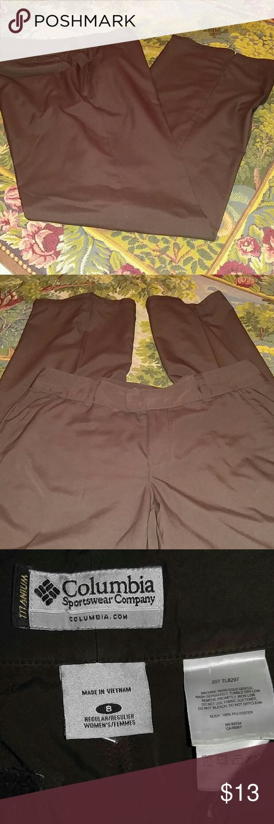 COLUMBIA SPORTSWEAR CO. Brown pants Excellent condition. Zipper pockets in front, pockets in back. Great for Fall/Winter wardrobe transition. Light weight material. Columbia Sportswear Pants Trousers