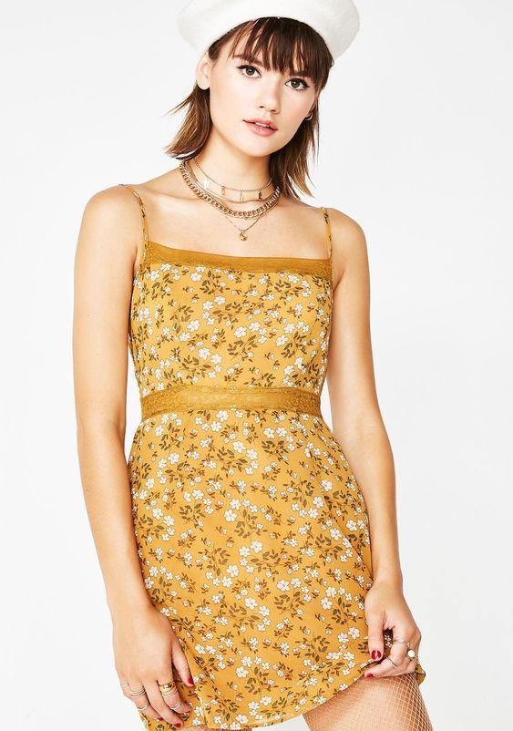 Yellow Flower Mini Dress | Dolls Kill