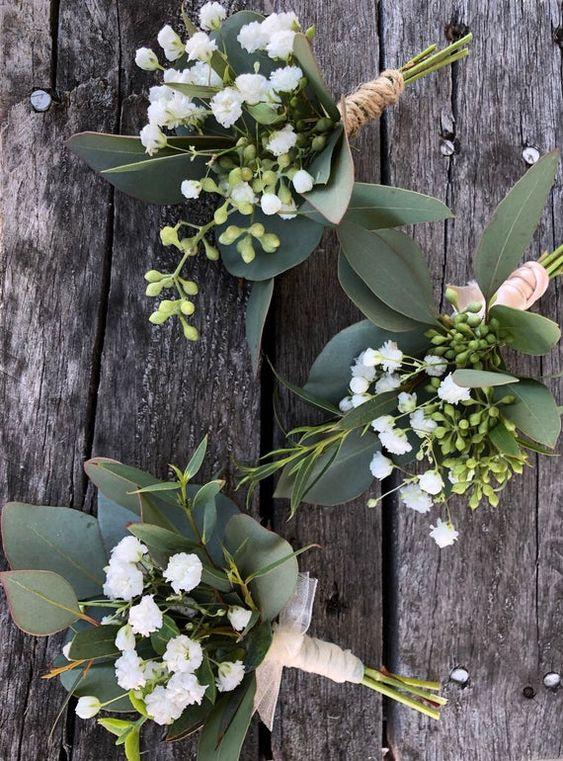 Fresh greenery and baby's breath Boutineere wedding | Etsy