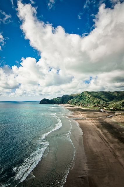 view from Lion Rock, Piha Beach, New Zealand: