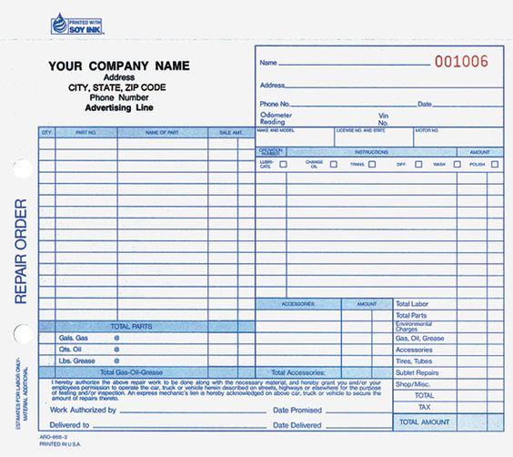 Printable Work Order Forms  BesikEightyCo