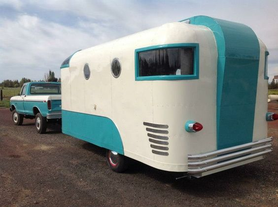 Blue And White Vintage Trailer Rvs Travel Vintage And