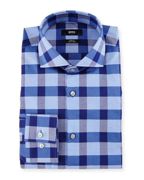 Slim-Fit Easy-Iron Large-Check Dress Shirt, Navy