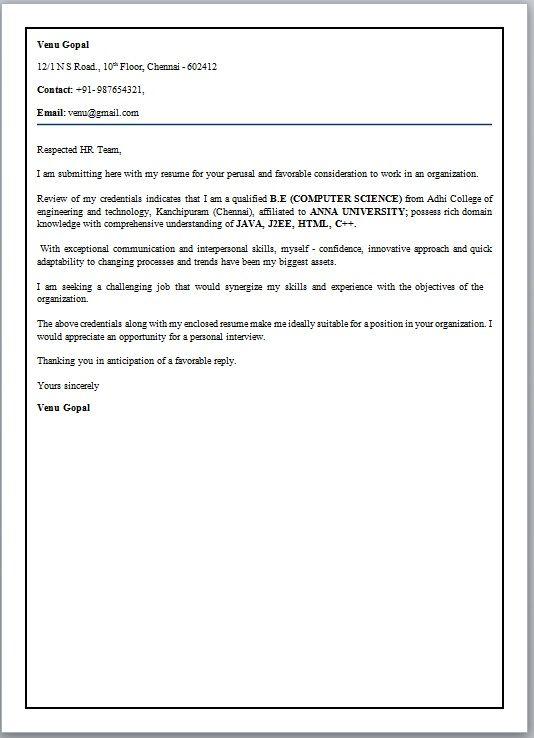 Cover Letter For Fresher Engineer - Cover Letter For Fresher - example engineering cover letter