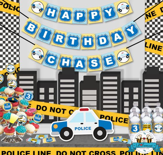Police Birthday Party Package Personalized by LilFacesPrintables, $35.00:
