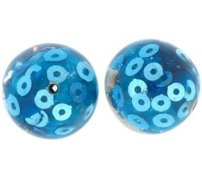 These 28mm beads have a turquoise fabric and sparkling sequins encased in resin.  They look great strung together with acylic or foil lined beads to create fun and funky statement piece jewellery #beads #acrylicbeads