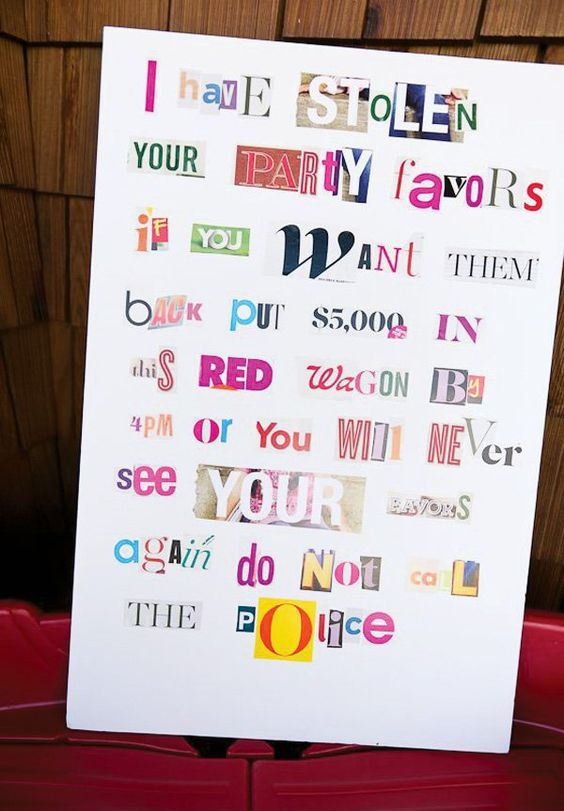 Mystery Party Ransom Note