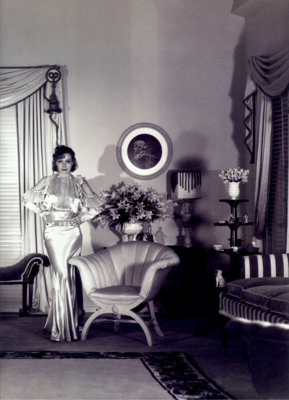 From Emily Evans Eerdmans Book Regency Redux. The style in England was named Vogue Regency. This style was popular in the 1920's and 1930's and was based on the Neoclassical styles of the 19thc. This is classic Hollywood Regency by Billy Haines for Joan Crawford: