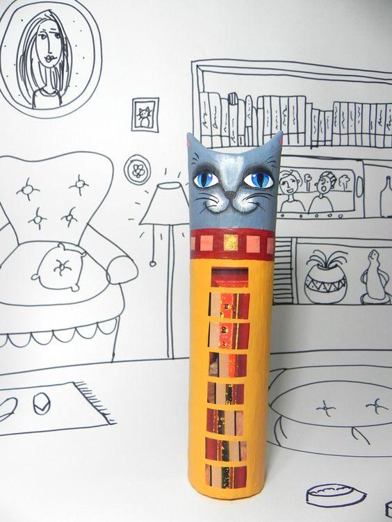 Gato feito de papel machê- corpo inteiro- Alice Mantellatto
