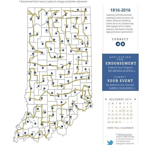 Map of the IndianaBicentennial Torch Relay indiana2016 – Indiana Tourist Attractions Map