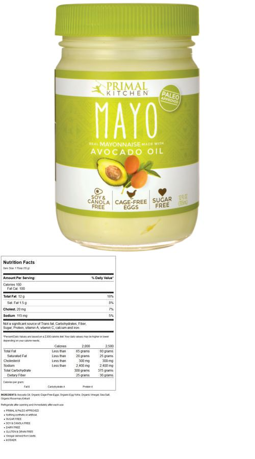 Primal Kitchen Mayo Real Mayonnaise Made With Avocado Oil 12 Fl Oz Jar Primal Kitchen Mayonnaise Recipe Nutrition Bars