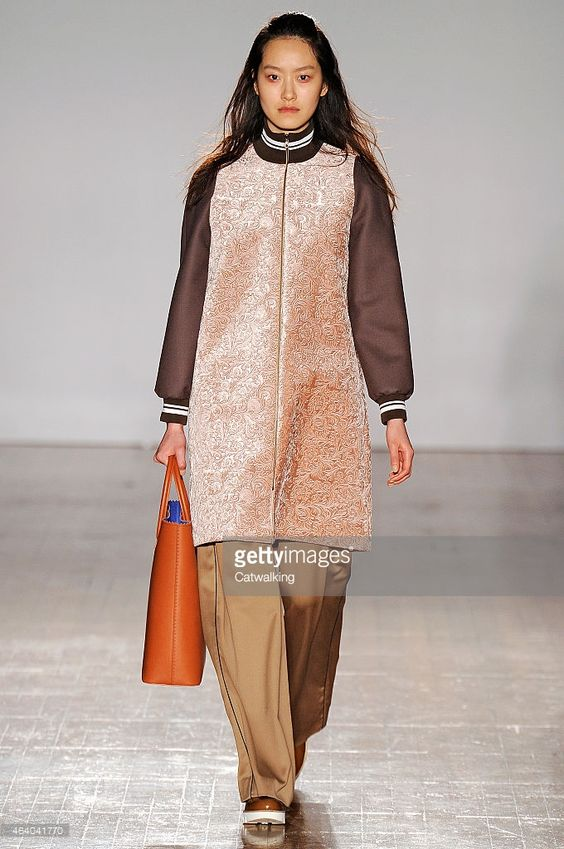 A model walks the runway at the Mother of Pearl Autumn Winter 2015 fashion show during London Fashion Week on February 21, 2015 in London, United Kingdom.