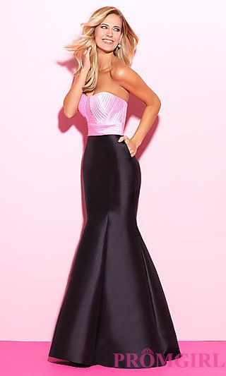 Long Trumpet Skirt Two Tone Prom Dress at PromGirl.com