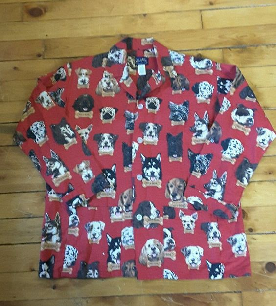 Nick and Nora sleepwear mens XL red dog patterned flannel pajama shirt 100% cott #NickandNora #Nightshirt