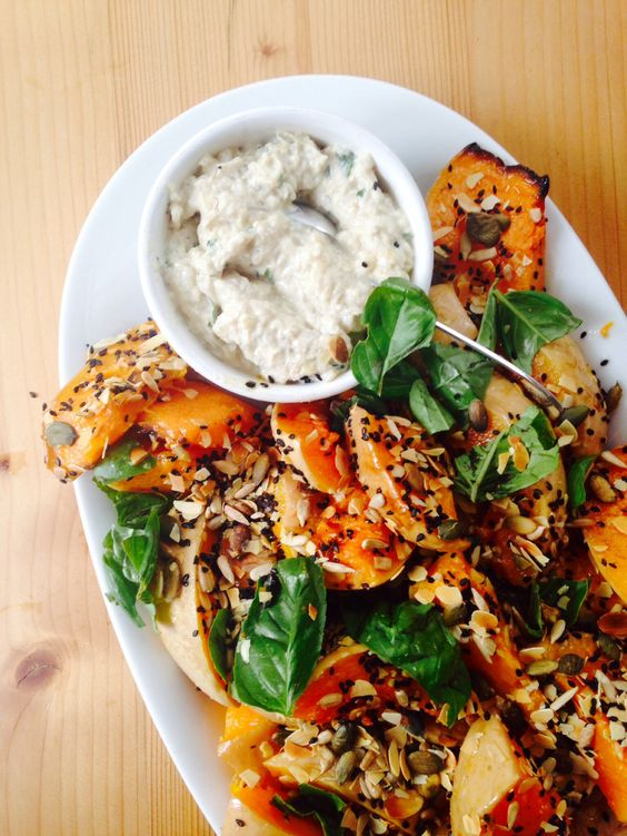 Roasted Butternut Squash with Burnt Aubergine and Pomegranate ...