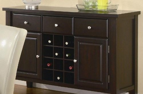 Server Sideboard with Wine Rack in Deep Cappuccino Finish Reviews Sales Discount and Cheap Price