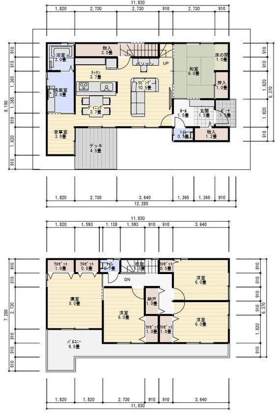 ビルトインガレージ付3階建ての間取り 間取り 間取り 30坪 2階 間取り