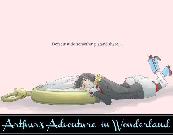 "Crossover between Hetalia and ""Alice in Wonderland"": Kiku as the White Rabbit - Art by たまごのきいろいとこ/ひよこ"