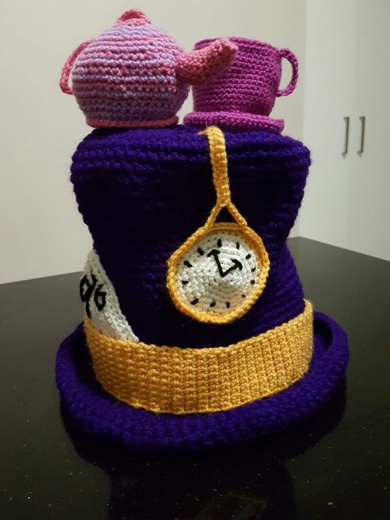 Mad hatters hat inspired by the hats on thecrochetcrowd.com site.