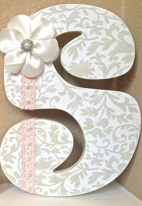 Nursery letters nurseries and baby girl room decor on pinterest - Wall decoration with pearls ...