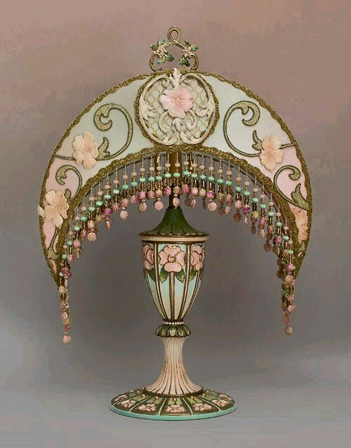 This Victorian Crescent Moon Lamp With Embroidered Silk And Hand Breaded Lamp Shade Was Inspired By Alphonse Mucha Victorian Lampshades Lamp Victorian Lamps