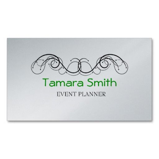 Tattoo, Green, Black And Platinum Event Planner Business Card - event card template
