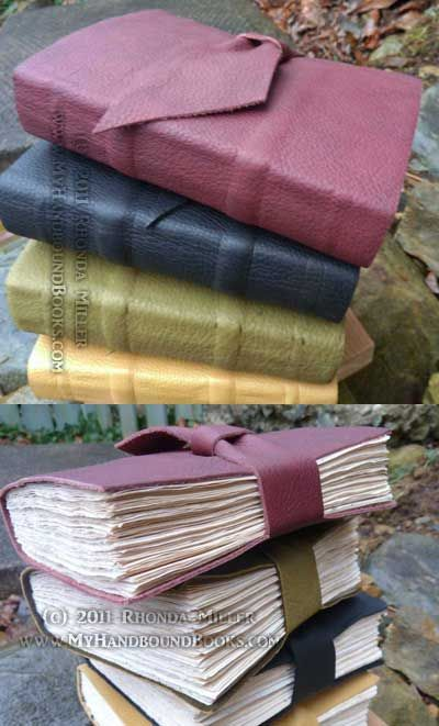 My Handbound Books - Bookbinding Blog: Leather Journals with tea-stained pages