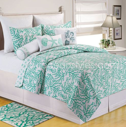 stunning coral beach bedroom | Cora Seafoam Bedding - Gorgeous coral patterned quilt in a ...