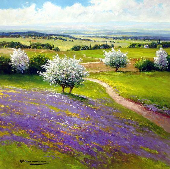 Gerhard Neswadba  (b.1941) —    Spring  (800×799)