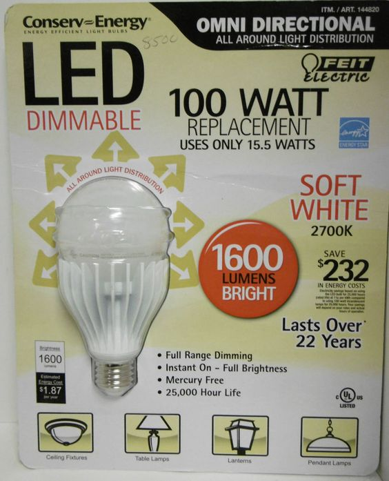 FEIT ELECTRIC 100 WATT REPLACEMENT BULBS USES 15.5 WATTS LED DIMMABLE1600 LUMENS #FeitElectric