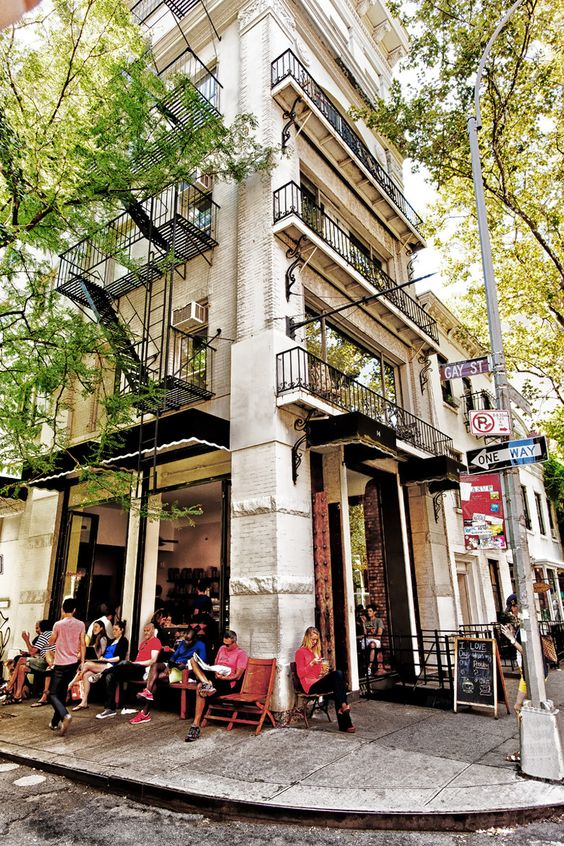 #Greenwich Village coffee house at the corner of Christopher and Gay streets, #NYC