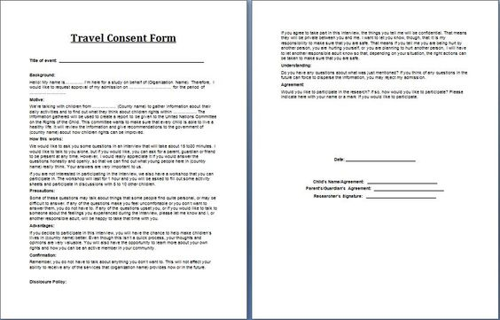 how to write a consent form for school