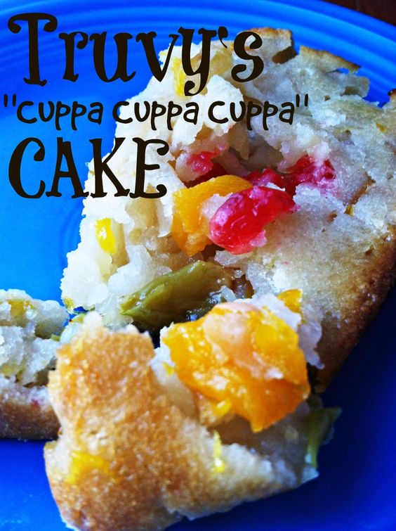 OMG I'VE HAD THIS BEFORE AND IT'S SOOOO GOOD! THINKING ABOUT MAKING IT WITH DICED CANNED PEACHES INSTEAD OF FRUIT COCKTAIL THO.....Steel Magnolias  Truvy's Cuppa Cuppa Cuppa Cake