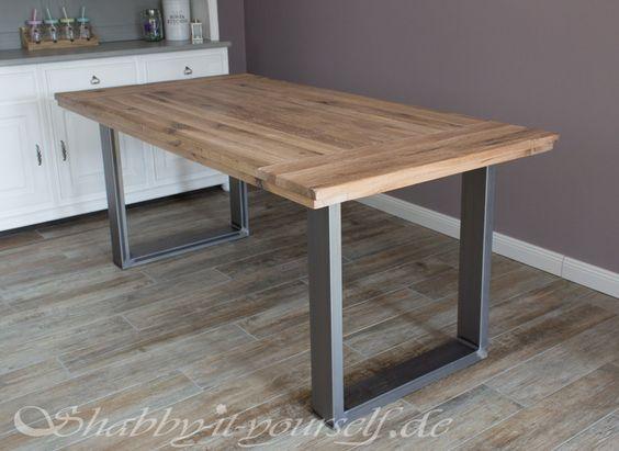 Esstisch aus massiv Eiche, Tisch mit einem Gestell aus Metall - k chenarbeitsplatte eiche massiv