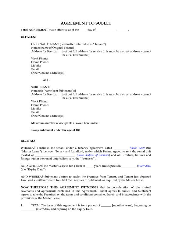 New Zealand Subletting Agreement for Residential Premises by – Sublet Contract Template