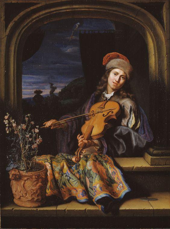 НЕТШЕР КАСПАР (NETSCHER CASPAR) (1639 - 1684) A Violin Player. 1684: