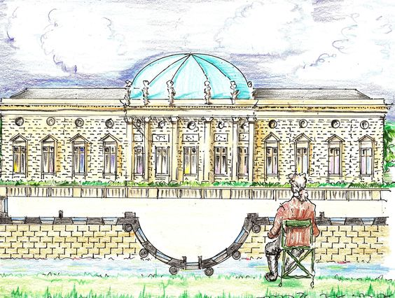 Thomas Jefferson rented a chair almost daily in the Tuileries Garden to watch the progress of the building of the Hotel Salm in 1787. He said he had strained his neck looking at so long!