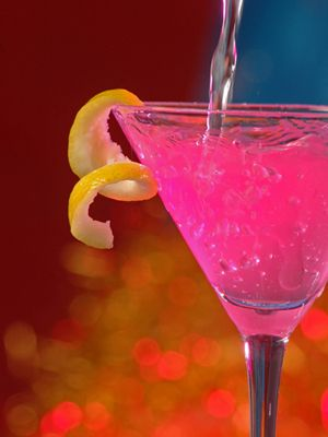 Pink Passion: peach schnapps, tequila, cranberry juice, and sprite