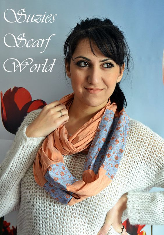 Coral And Blue Long Scarf Floral Scarf Double by SuziesScarfWorld, €18.00