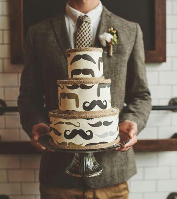 Just making sure everyone can tell it's the groom's cake :): Groom S Cake, Grooms Cake, Cake Design, Mustache Cake, Groomscake, Wedding Cake, Birthday Cake, Weddingcake